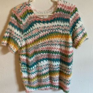 Anthropologie soft fuzzy top with 60s style print